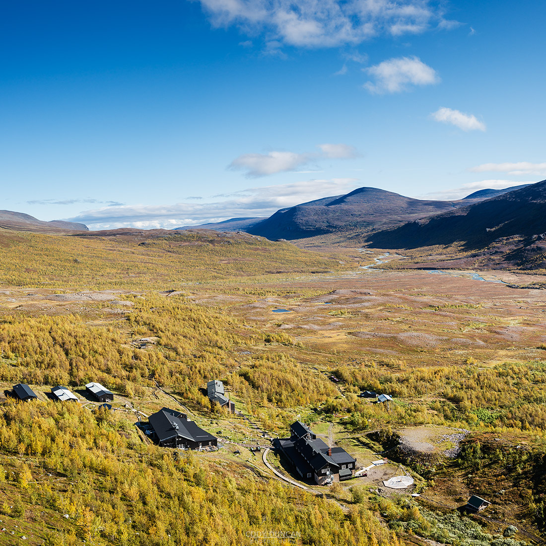 Autumn view over STF Kebnekaise Fjällstation mountain hut, Lappland, Sweden