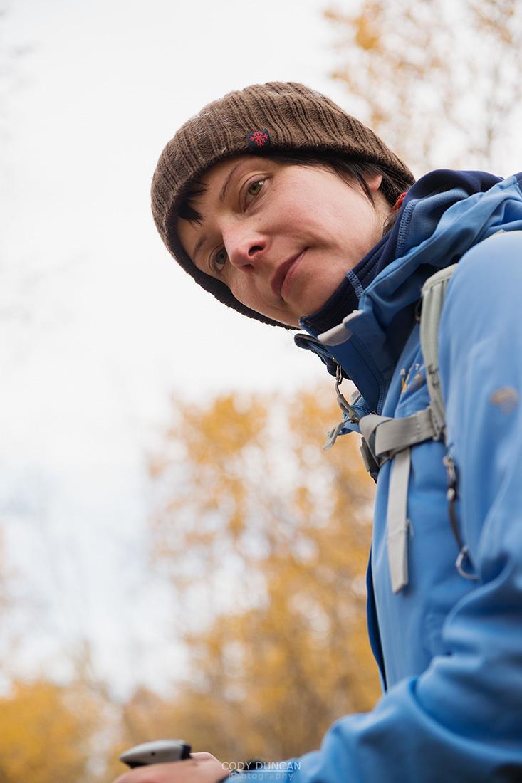 hiker in yellow Autumn birch forest along Kungsleden trail, near Abisko, Lappland, Sweden