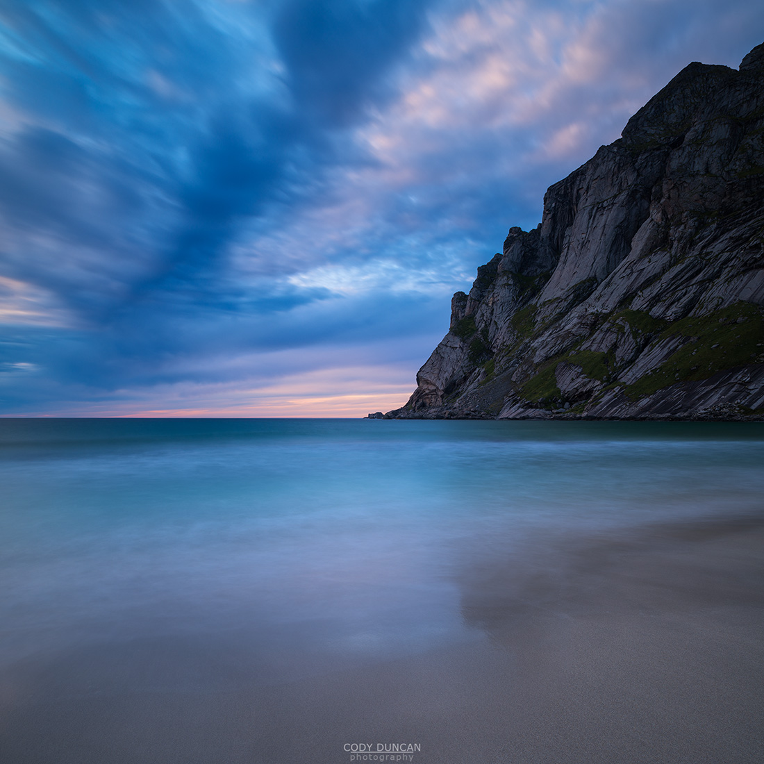 Sunset at Bunes Beach, Moskenesoy, Lofoten Islands, Norway