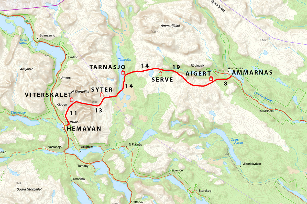 Kungsleden Trail Map