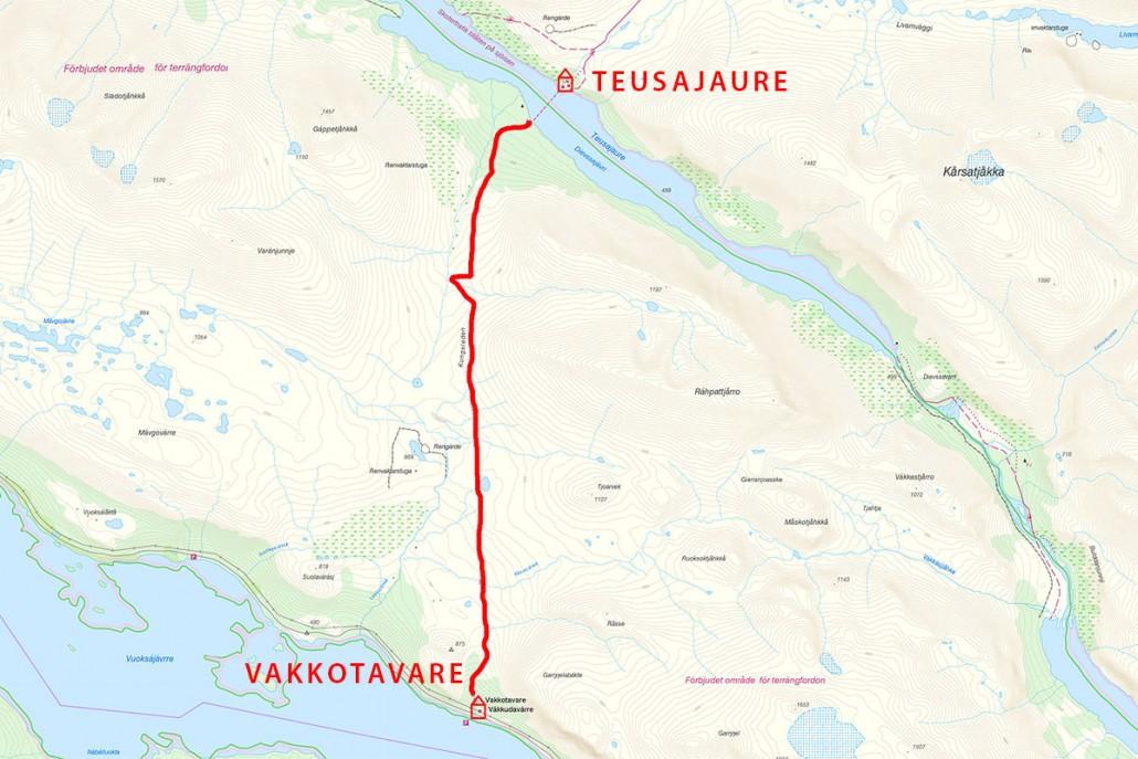 Teusajaure에서 Vakkotavare 가는 길
