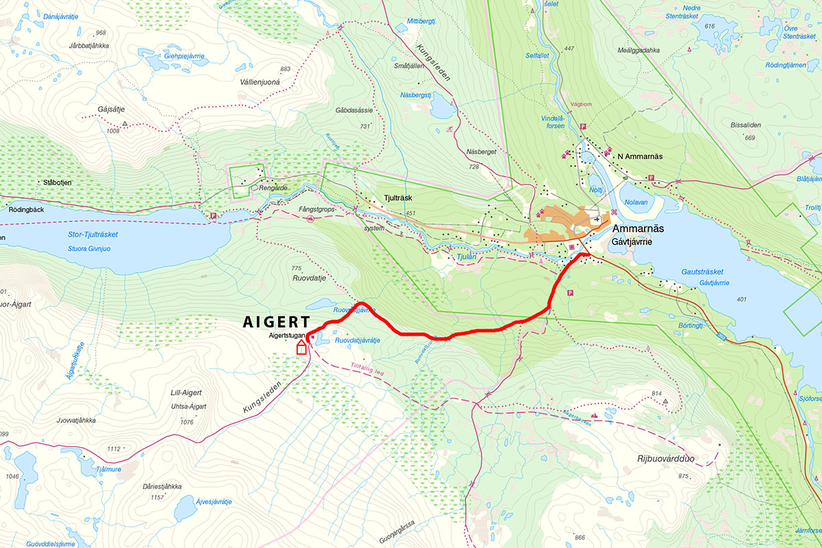 Kungsleden trail map - Ammarnäs to Aigert