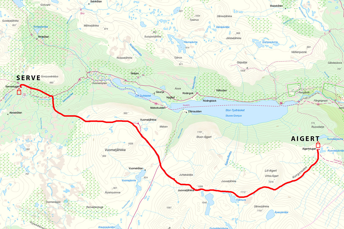 kungsleden trail map - serve