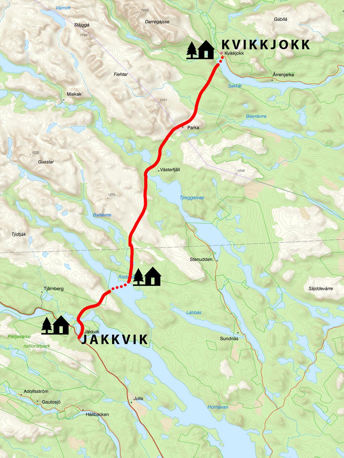 Kungsleden trail map - Kvikkjokk to Jakkvik