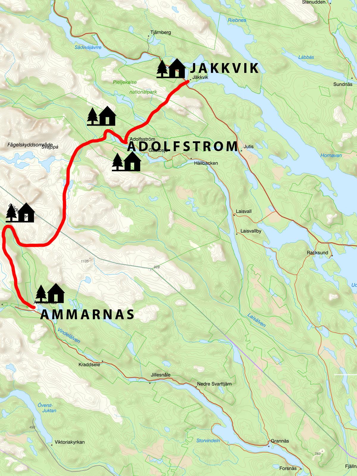 KKungsleden trail map - Jakkvik to Ammarnas